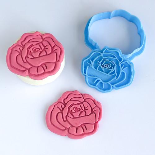 Rose Flower  cutter    Fondant /Cookie Embosser  (fits oreos)