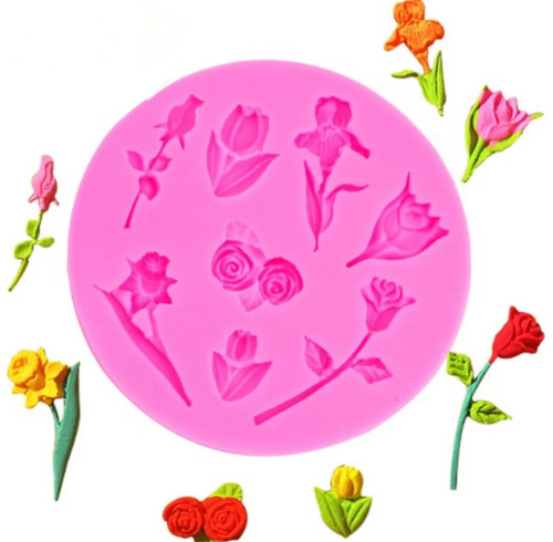 Mini  mixed Flower silicone mold