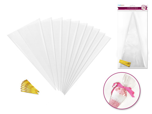 Clear Cone Cello Bags 10pc w/Twist Ties