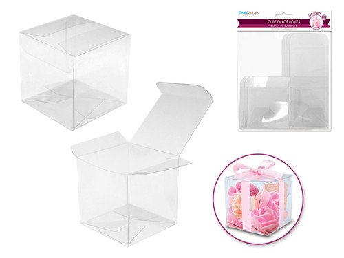 Clear Cube Favor Box  Med  3pc