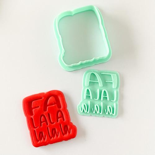 Fa La la la  Fondant /Cookie Embosser  and cutter set