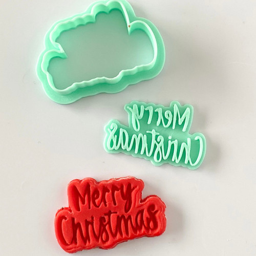 Merry Christmas  Fondant /Cookie Embosser  and cutter set