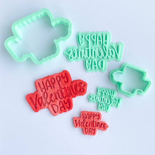 Happy valentines day  Fondant /Cookie Embosser  and cutter set