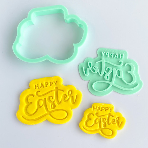 Happy Easter Fancy   Fondant /Cookie Embosser  and cutter set
