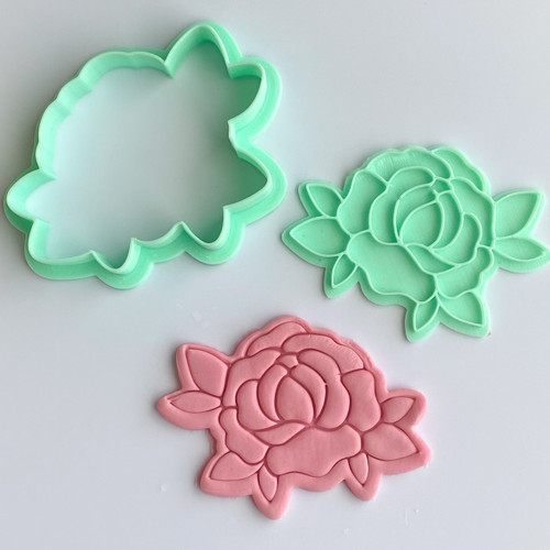 Peony Flower  Stamp and Cutter set 3""