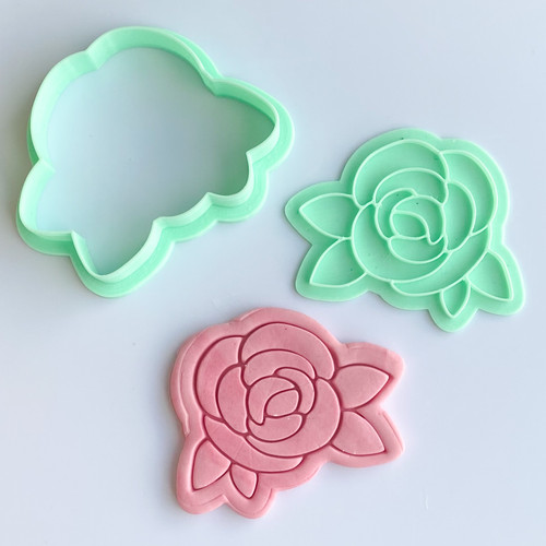 Peony with leaves Flower  Stamp and Cutter set 3""