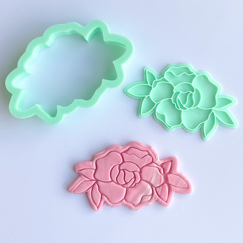 Peony open  Flower  Stamp and Cutter set 3""