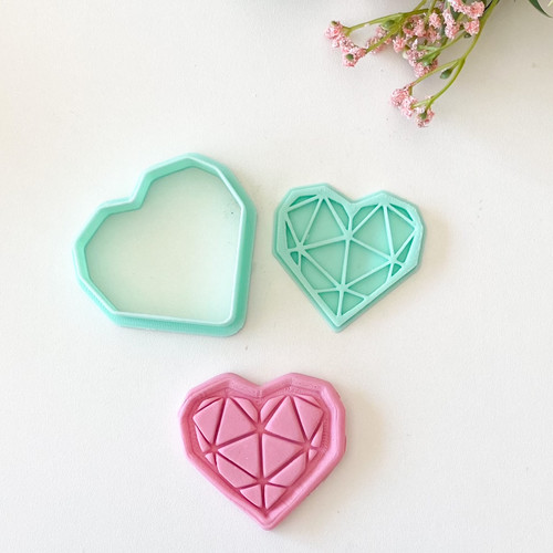 Geometric Heart  fondant Cookie Embosser and cutter