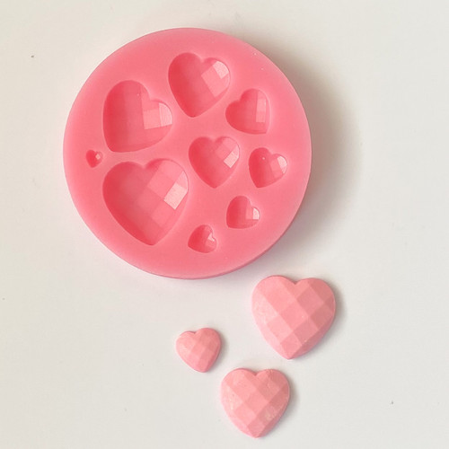 Faceted Heart  silicone Mold PM614