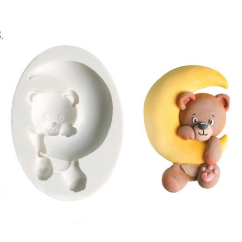 Bear with Moon silicone mold