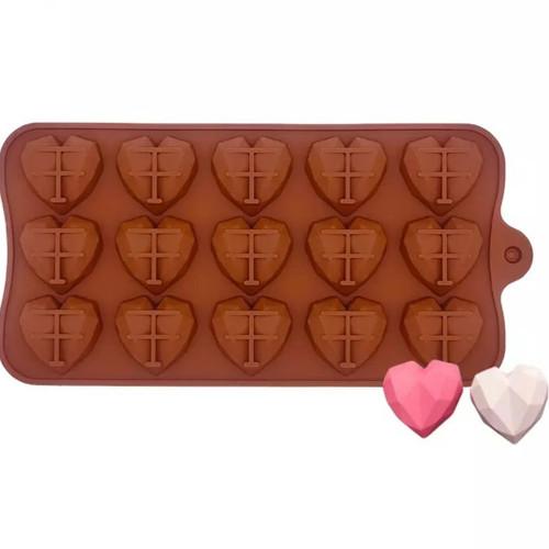 Geo Heart Small  Silicone Chocolate Mold