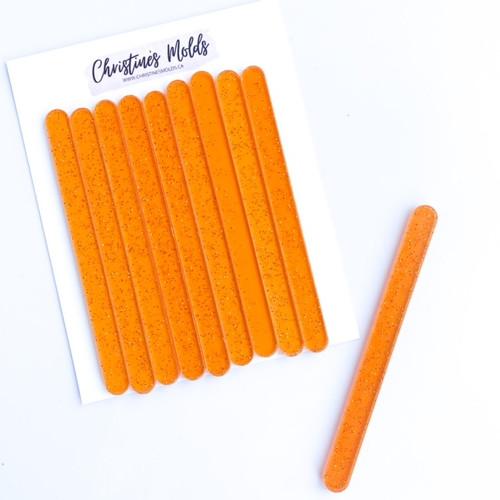 Orange  Clear white Sparkle Acrylic Cakesicle Sticks