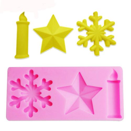 Christmas Mold Set SnowFlake Star and Candle  SE22