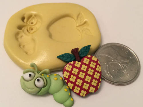 Worm And Apple Silicone Mold