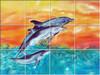 Dolphins UV Ceramic Tile Mural