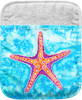 """The Starfish Pocket Mitt has a 100% polyester face and a 100% cotton back. This pocket mitt has a hang tag on back. Dimensions are 8.25"""" x 8.25""""."""