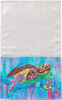 "The Turtle Time Ribbed Towel is a soft, high quality towel. Micro denier polyester material makes the towel extra absorbent. The upper part of the towel is ribbed cotton. Dimensions are 16"" x 25""."