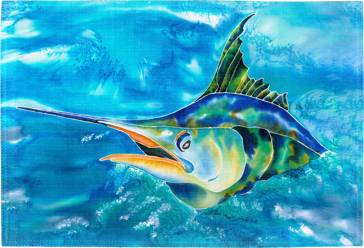 Splash The Marlin Placemat Kim Braun Art Live Free Ink