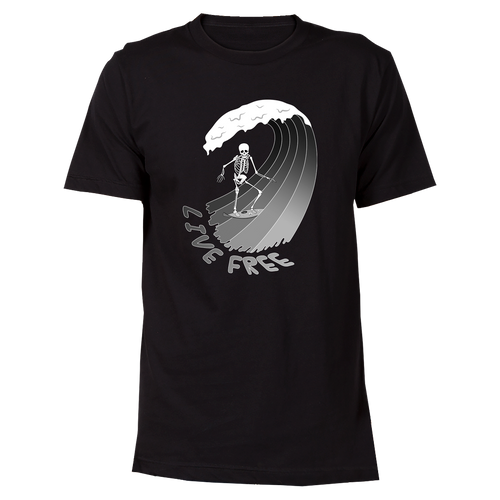 Surfing Skeleton Cotton T-Shirt