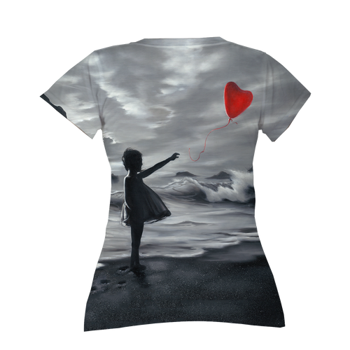 One Red Balloon Ladies V-Neck