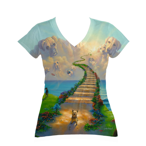 All Dogs Go to Heaven Ladies V-Neck