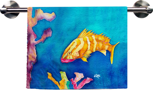 Tropical Reef Fish Hand Towel
