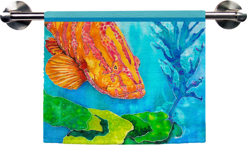 Grouper in the Green Hand Towel