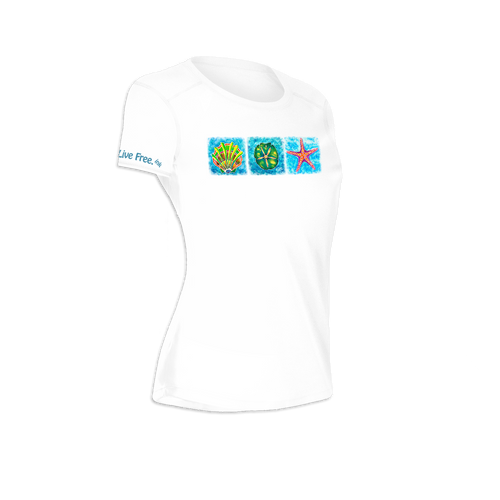 Starfish, Shell, Sand Dollar Trio Women's Short-Sleeve Solar Performance Shirt