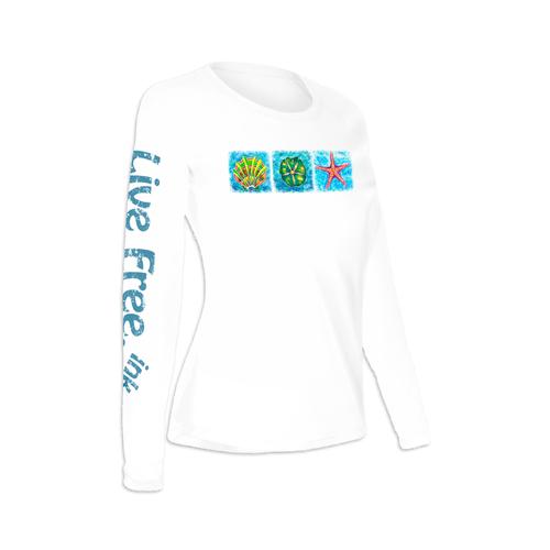 Starfish, Shell, Sand Dollar Trio Women's Long-Sleeve Solar Performance Shirt