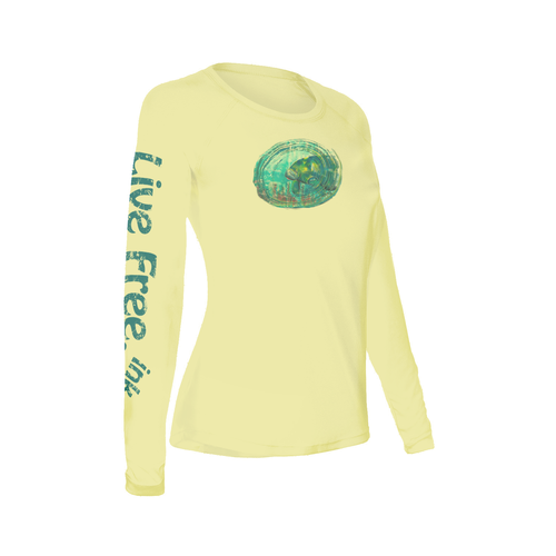 The Mo the Manatee Women's Long-Sleeve Solar Performance Shirt is a moisture-wicking, microfiber polyester, athletic shirt. This shirt has SPF 50+ protection and is recommended by the skin cancer foundation to protect against harmful UV rays. This performance shirt has a comfortable fit as well as the ability to stretch as you do, making it the perfect outdoor athletic shirt.