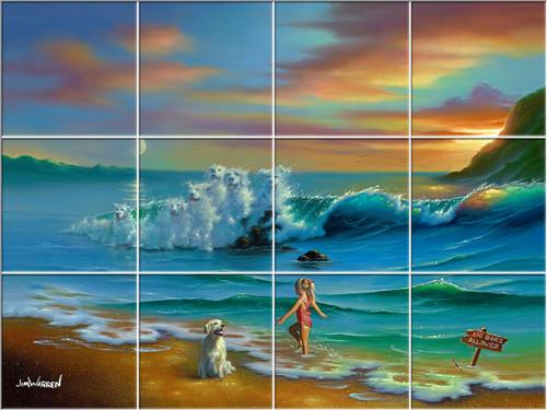 Dogs Allowed UV Ceramic Tile Mural