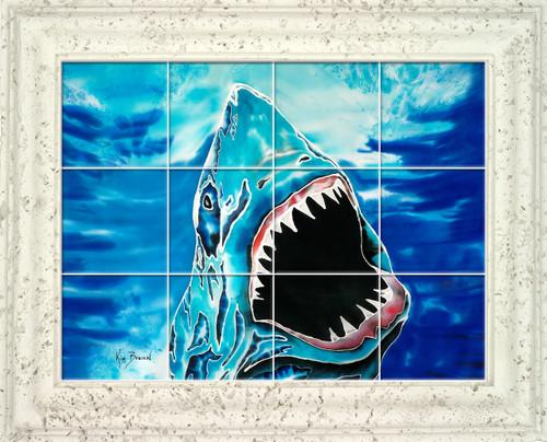 Shark Attack UV Ceramic Tile Mural