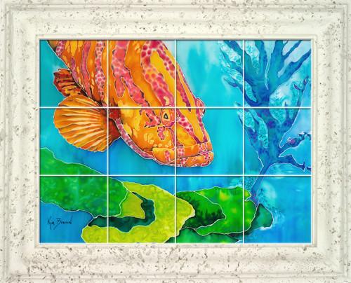 Grouper in the Green UV Ceramic Tile Mural