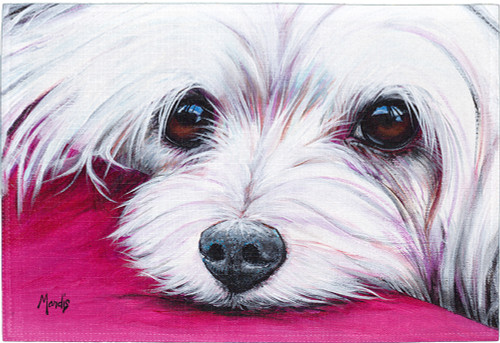 "The Maltese Placemat is a high-quality kitchen placemat with a high resolution image. Perfect kitchenware for a dog-lover's dining setting. Sized at 18"" x 12""."