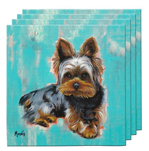 "The Yorkie Coaster Set contains four highly absorbent fabric coasters and makes a great functional gift item useful for any setting. 4"" x 4""."