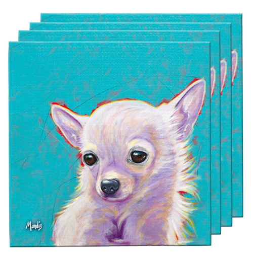"The Chihuahua Coaster Set contains four highly absorbent fabric coasters and makes a great functional gift item useful for any setting. 4"" x 4""."