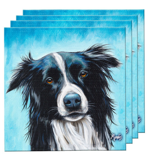 "The Bosco Coaster Set, depicting a border collie, contains four highly absorbent fabric coasters and makes a great functional gift item useful for any setting. 4"" x 4""."