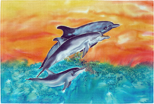 "The Dolphins Placemat is a high-quality kitchen placemat with a high resolution image. Perfect kitchenware for a beach-lover's dining setting. Sized at 18"" x 12""."