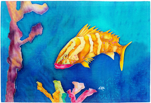 """The Tropical Reef Fish Placemat is a high-quality kitchen placemat with a high resolution image. Perfect kitchenware for a beach-lover's dining setting. Sized at 18"""" x 12""""."""