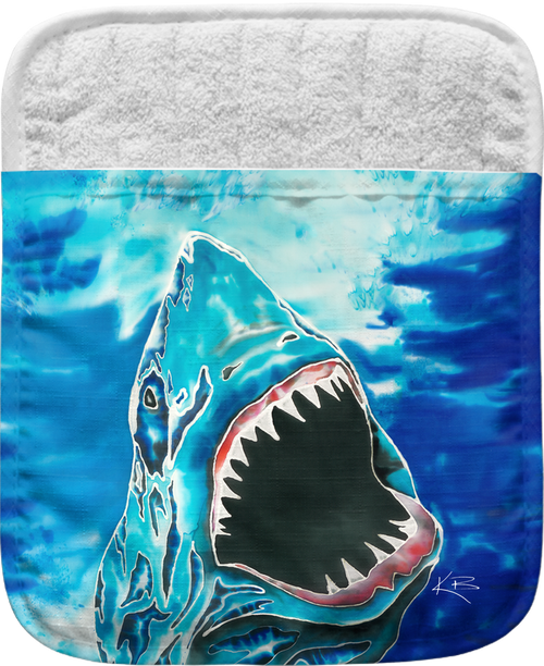 """The Shark Attack Pocket Mitt has a 100% polyester face and a 100% cotton back. This pocket mitt has a hang tag on back. Dimensions are 8.25"""" x 8.25""""."""