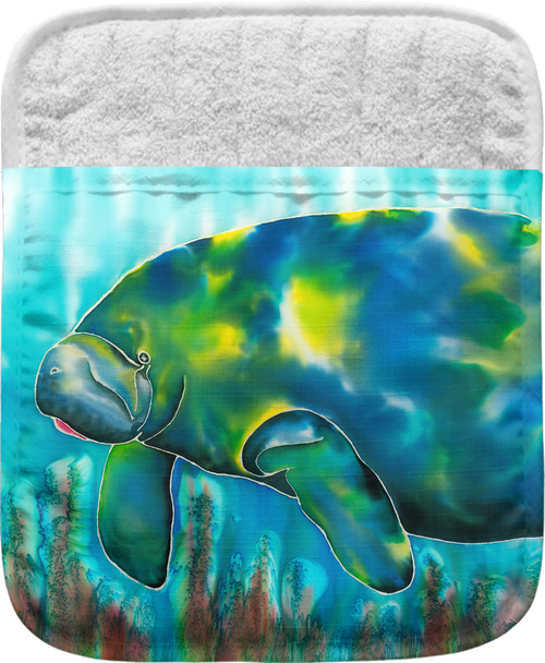 """The Mo the Manatee Pocket Mitt has a 100% polyester face and a 100% cotton back. This pocket mitt has a hang tag on back. Dimensions are 8.25"""" x 8.25""""."""
