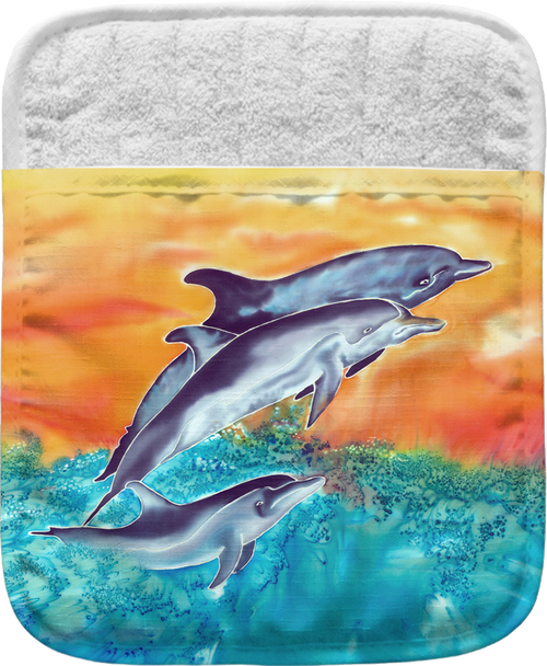 """The Dolphins Pocket Mitt has a 100% polyester face and a 100% cotton back. This pocket mitt has a hang tag on back. Dimensions are 8.25"""" x 8.25""""."""