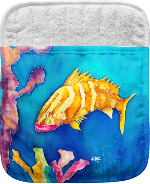 """The Tropical Reef Fish Pocket Mitt has a 100% polyester face and a 100% cotton back. This pocket mitt has a hang tag on back. Dimensions are 8.25"""" x 8.25""""."""