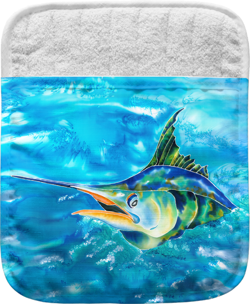 """The Splash the Marlin Pocket Mitt has a 100% polyester face and a 100% cotton back. This pocket mitt has a hang tag on back. Dimensions are 8.25"""" x 8.25""""."""