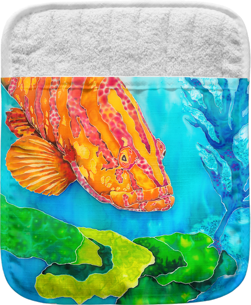 """The Grouper in the Green Pocket Mitt has a 100% polyester face and a 100% cotton back. This pocket mitt has a hang tag on back. Dimensions are 8.25"""" x 8.25""""."""