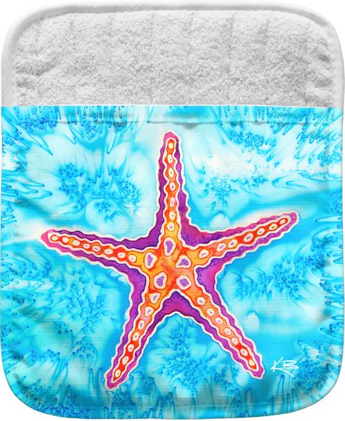 "The Starfish Pocket Mitt has a 100% polyester face and a 100% cotton back. This pocket mitt has a hang tag on back. Dimensions are 8.25"" x 8.25""."