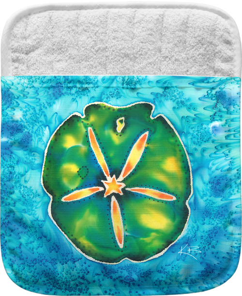 """The Sand Dollar Pocket Mitt has a 100% polyester face and a 100% cotton back. This pocket mitt has a hang tag on back. Dimensions are 8.25"""" x 8.25""""."""