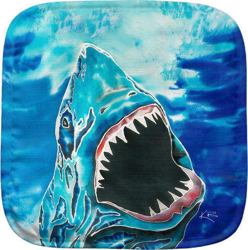 The Shark Attack Potholder makes for the perfect kitchen item. With a 100% polyester face and 100% cotton back this potholder is extremely heat resistant. Also has a hang tag on back. Dimensions are 8.25 x 8.25.