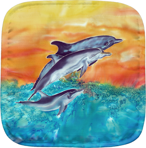 The Dolphins Potholder makes for the perfect kitchen item. With a 100% polyester face and 100% cotton back this potholder is extremely heat resistant. Also has a hang tag on back. Dimensions are 8.25 x 8.25.