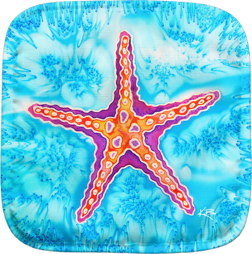 The Starfish Potholder makes for the perfect kitchen item. With a 100% polyester face and 100% cotton back this potholder is extremely heat resistant. Also has a hang tag on back. Dimensions are 8.25 x 8.25.